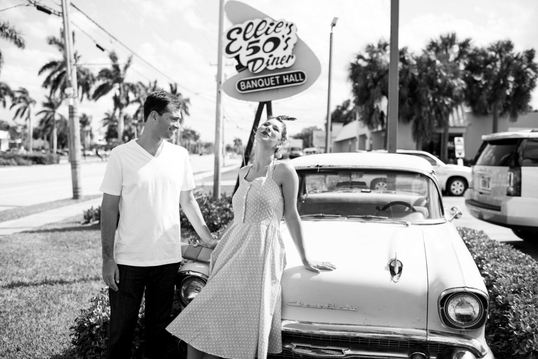Cleveland Wedding Photography 50s style black and white engagement photo