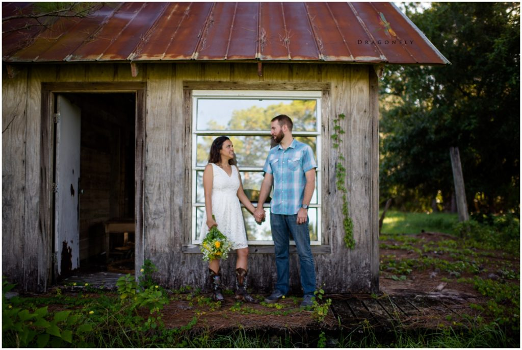 Rustic Elopement Portrait at broken down house