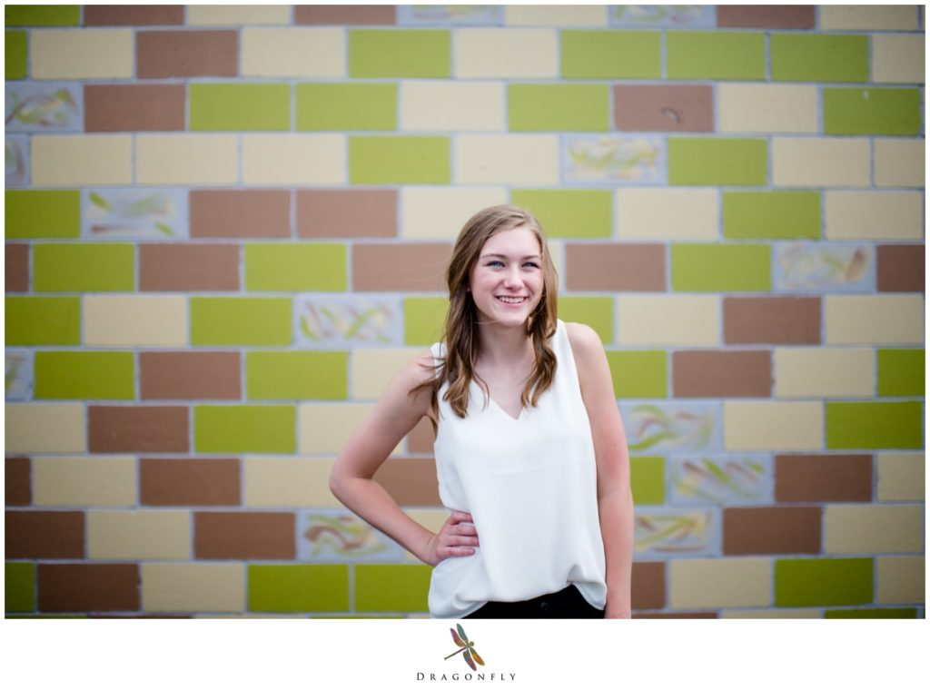 Girl with Wall Senior portrait