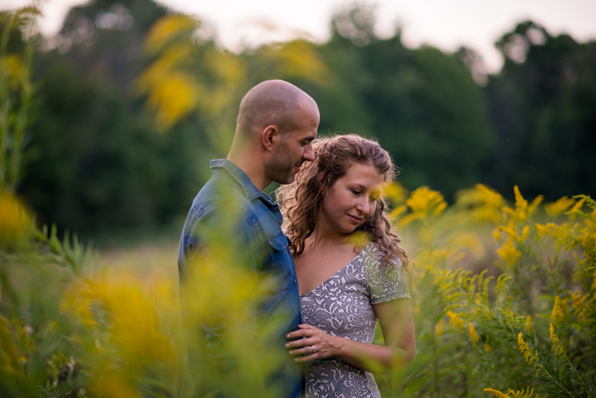 Best Cleveland Wedding Photography Field of Flowers Engagement Photo