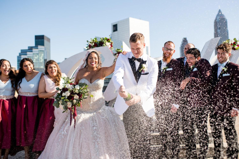 Cleveland Ohio Sign Wedding Party Photo