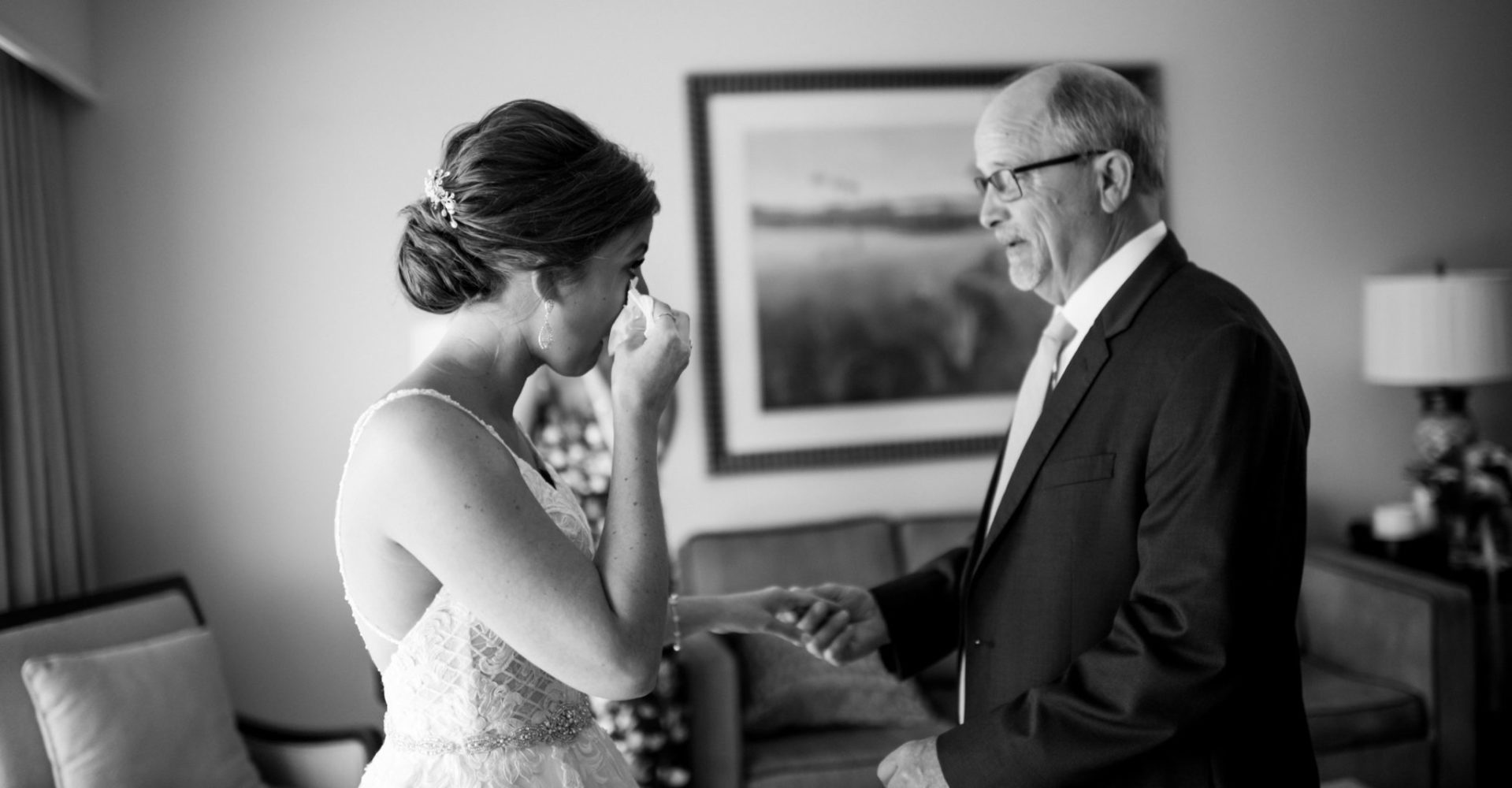 Sweet Moment Father of the Bride First Look Photo