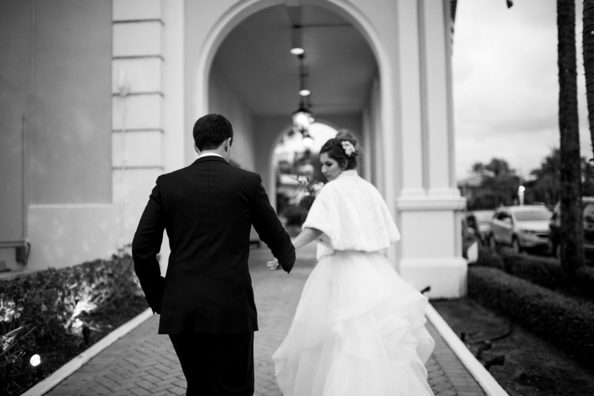 The Colony Palm Beach Wedding Black and White Photo