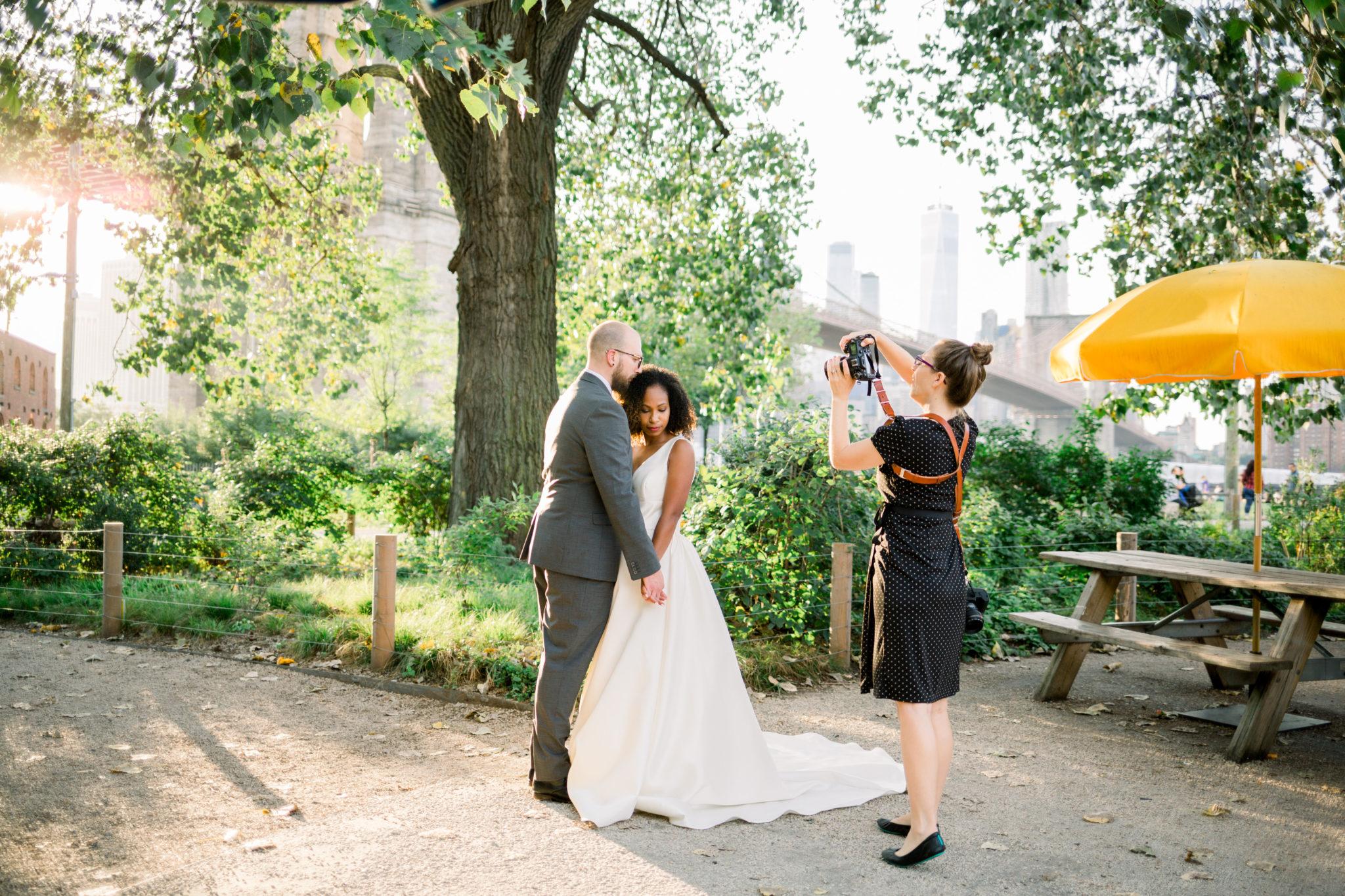New York City Destination Wedding Photographer Brooklyn Bridge Behind the Scenes Photo