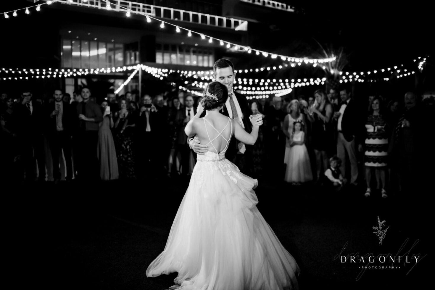 Bride Groom nighttime first dance