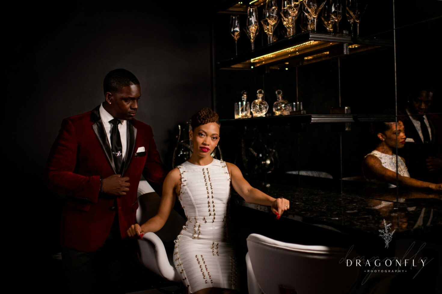 wedding portrait in bar with couple