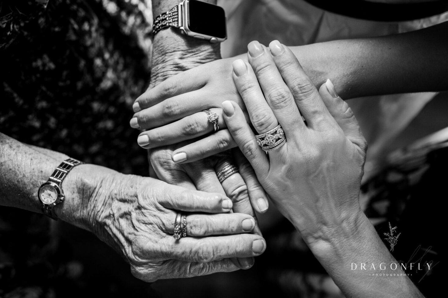 Black and white portraits of hands