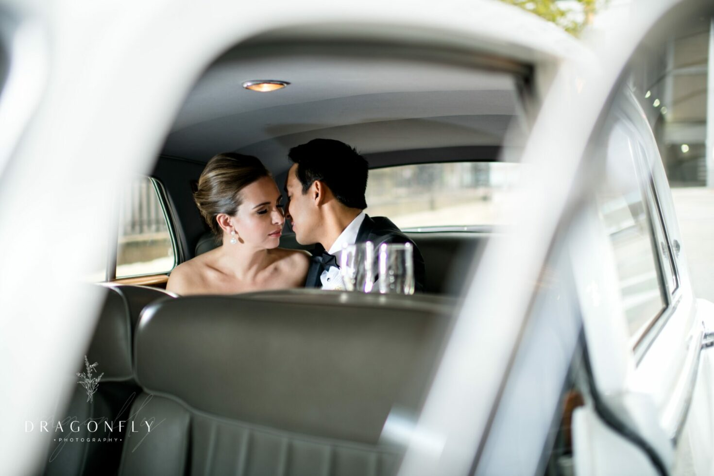 Bride and Groom in Classic Car downtown Cleveland