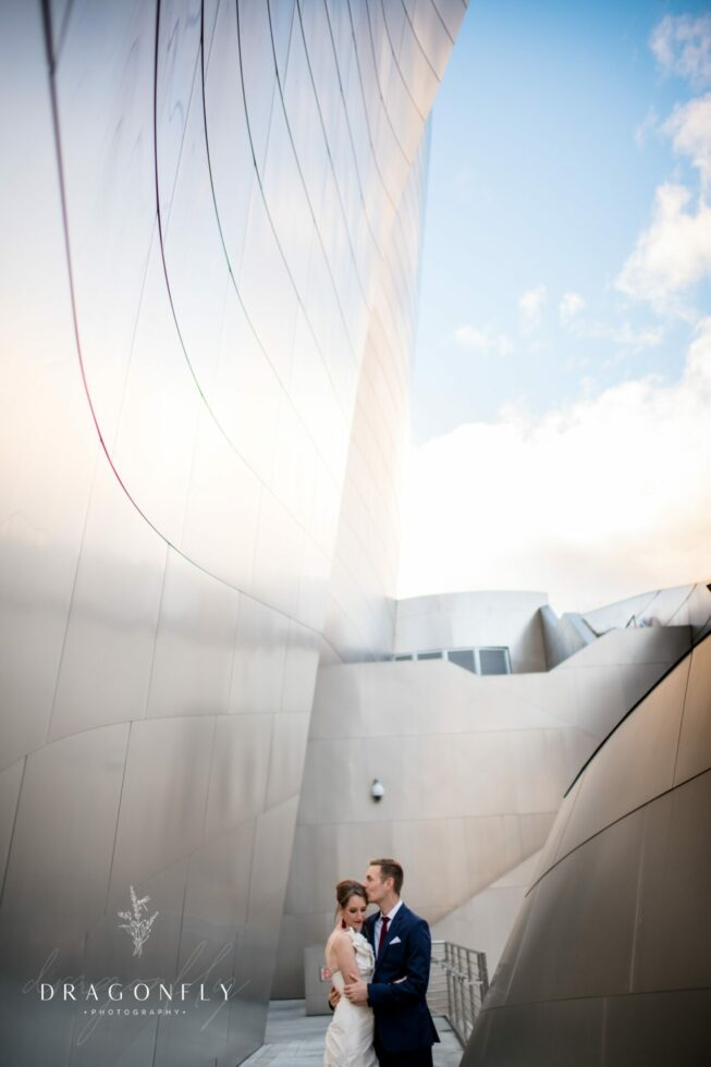 bride and groom at Walt Disney Concert Hall