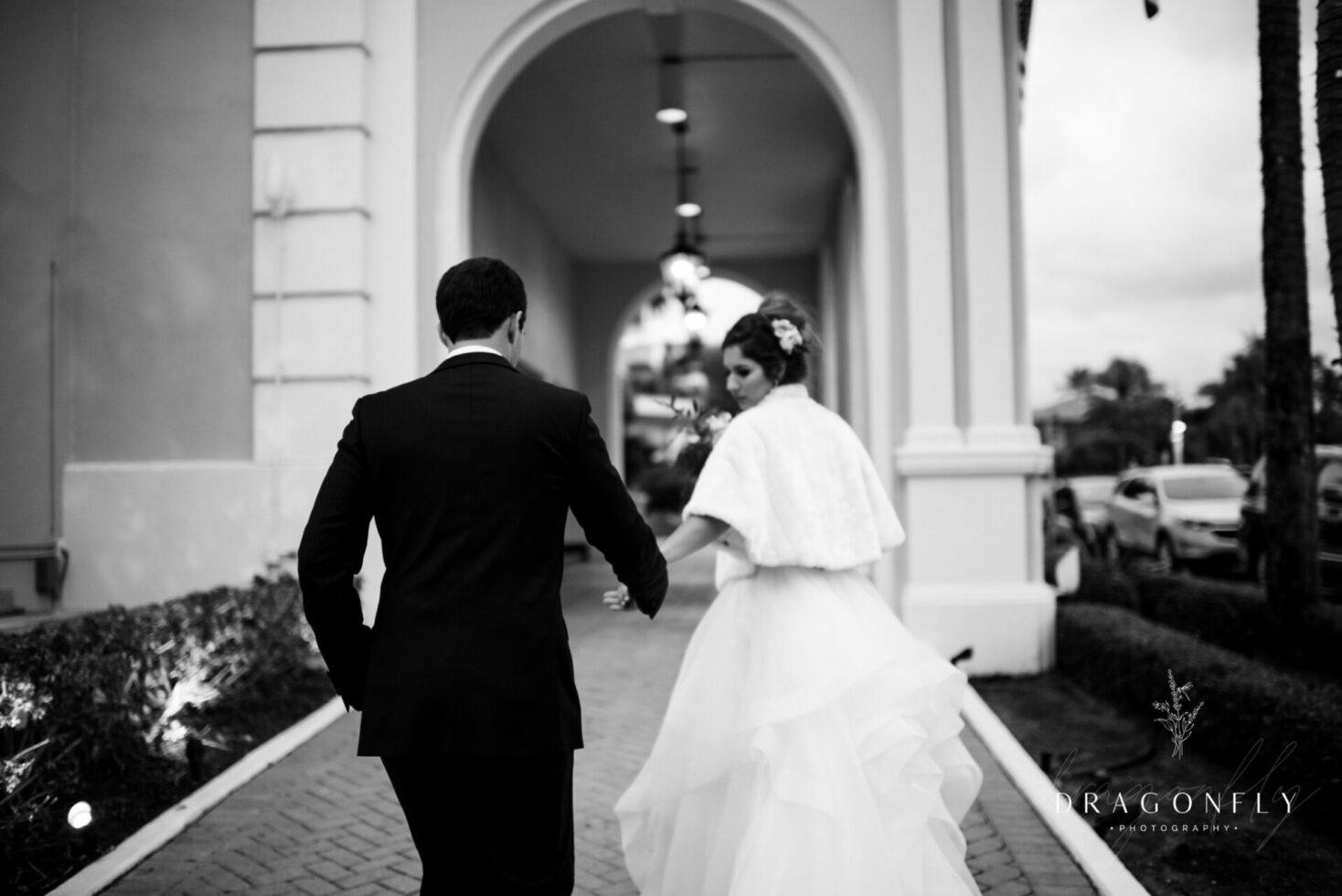 black and white bride and groom Colony Palm Beach