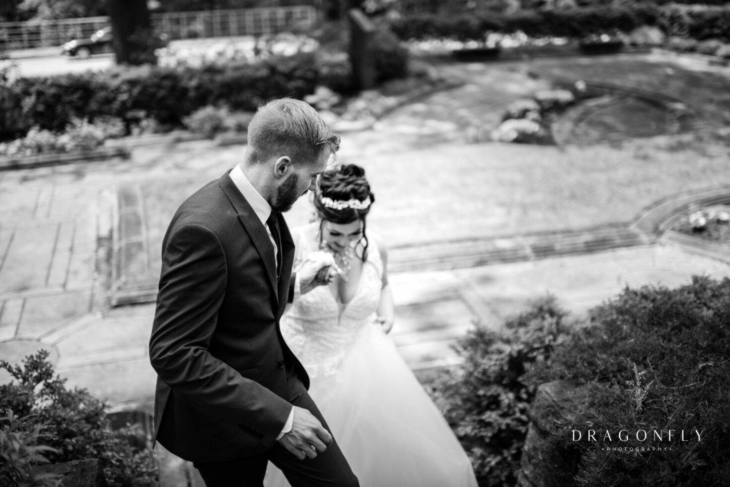 groom helps bride cleveland cultural gardens