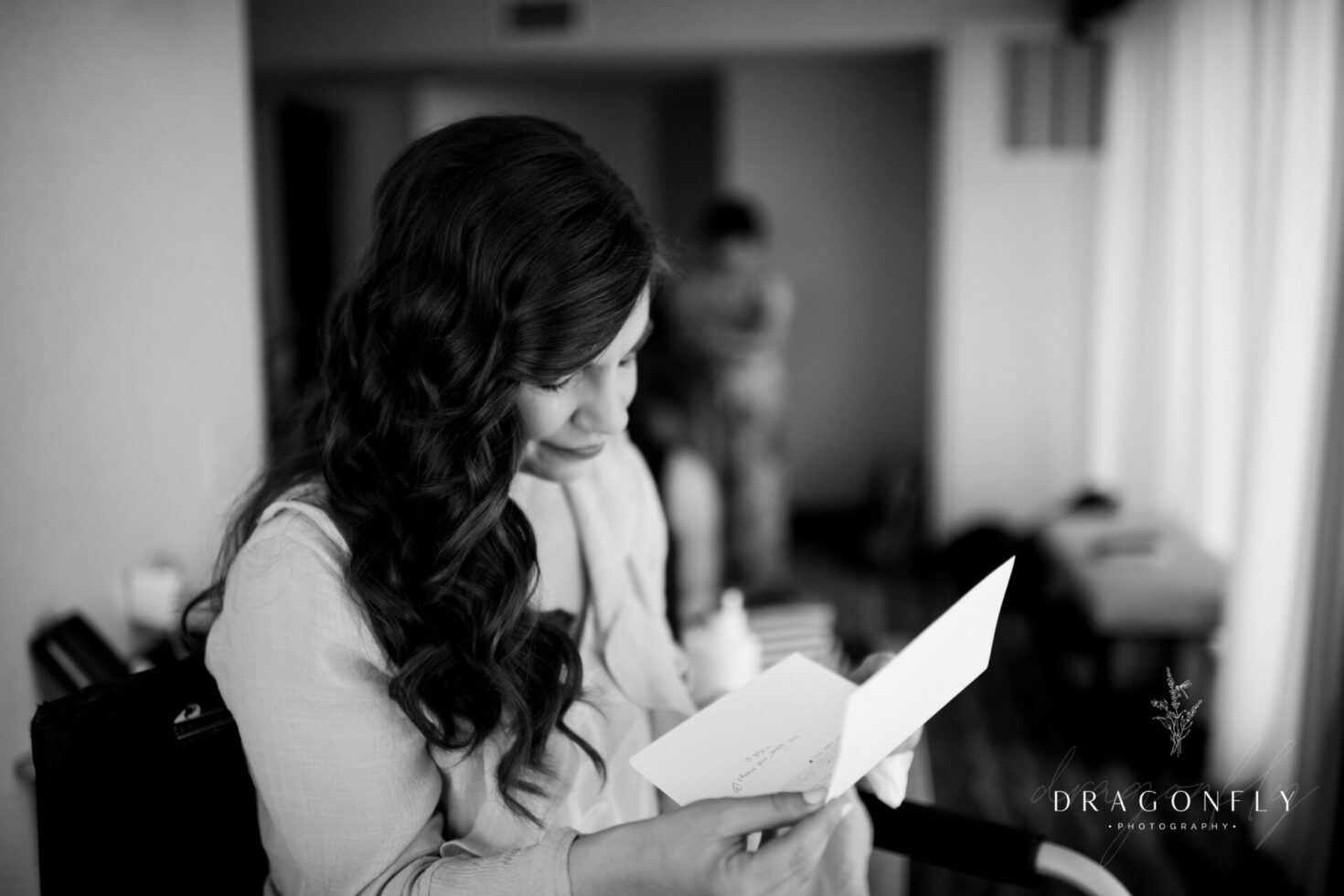 bride reads emotional note