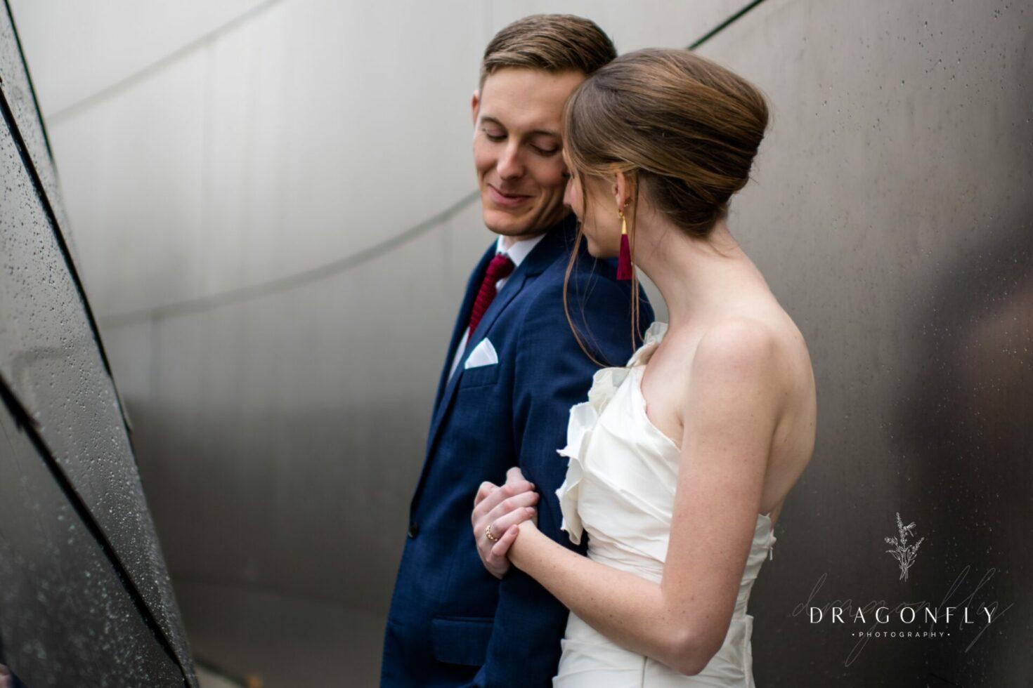 modern couple on wedding day