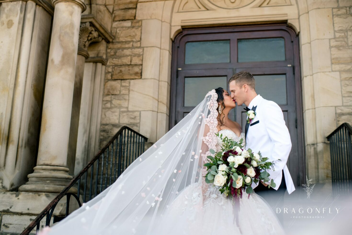 downtown cleveland bride and groom