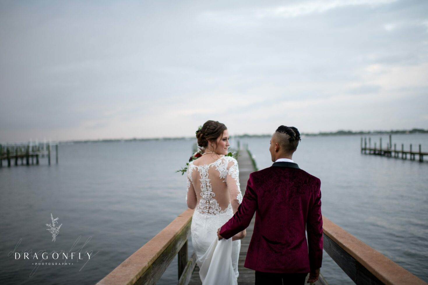 Couple on beach at wedding day