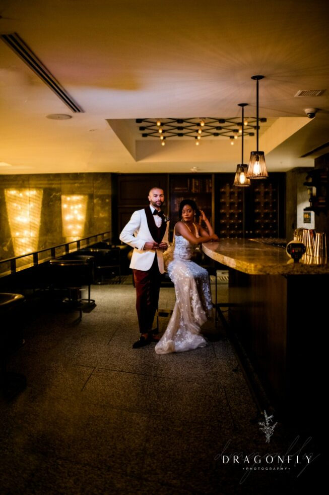 couple at Metropolitan at the 9 wedding