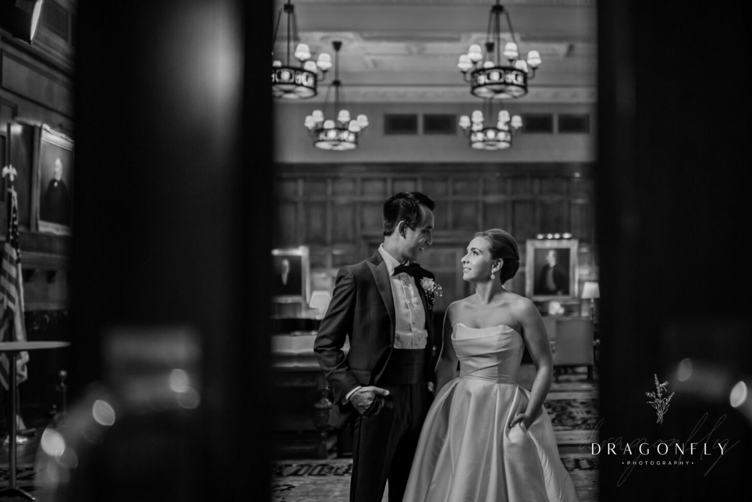 Bride and groom black and white at union club wedding