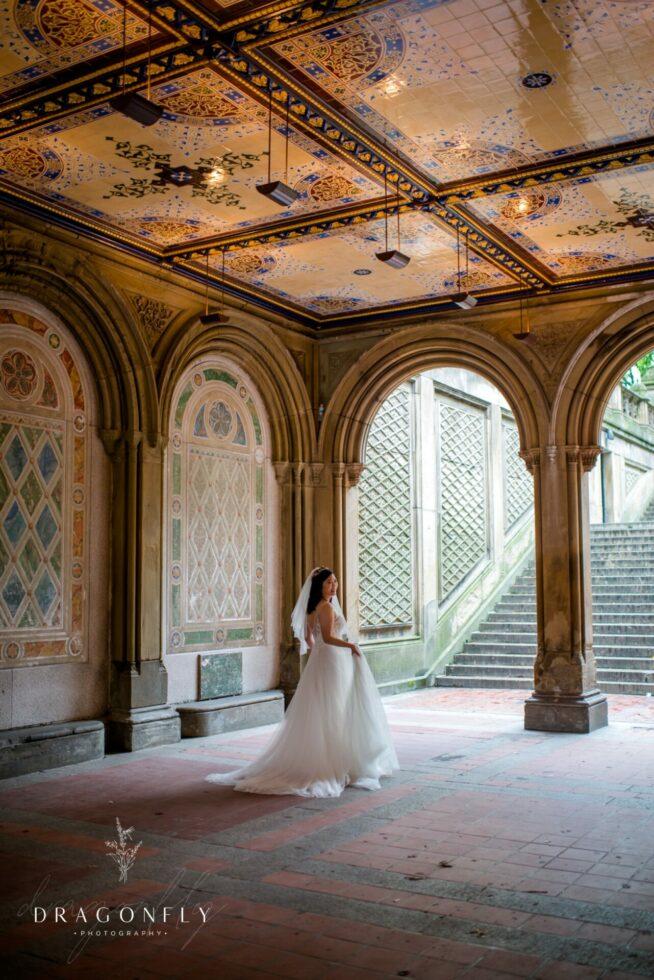 bridal portrait at central park wedding