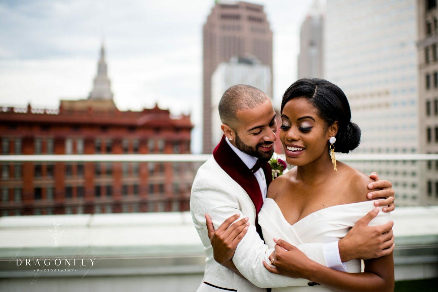 couple smiling metropolitan at the 9 wedding