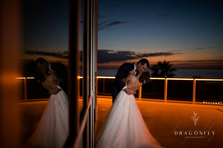 sunset portrait bride and groom