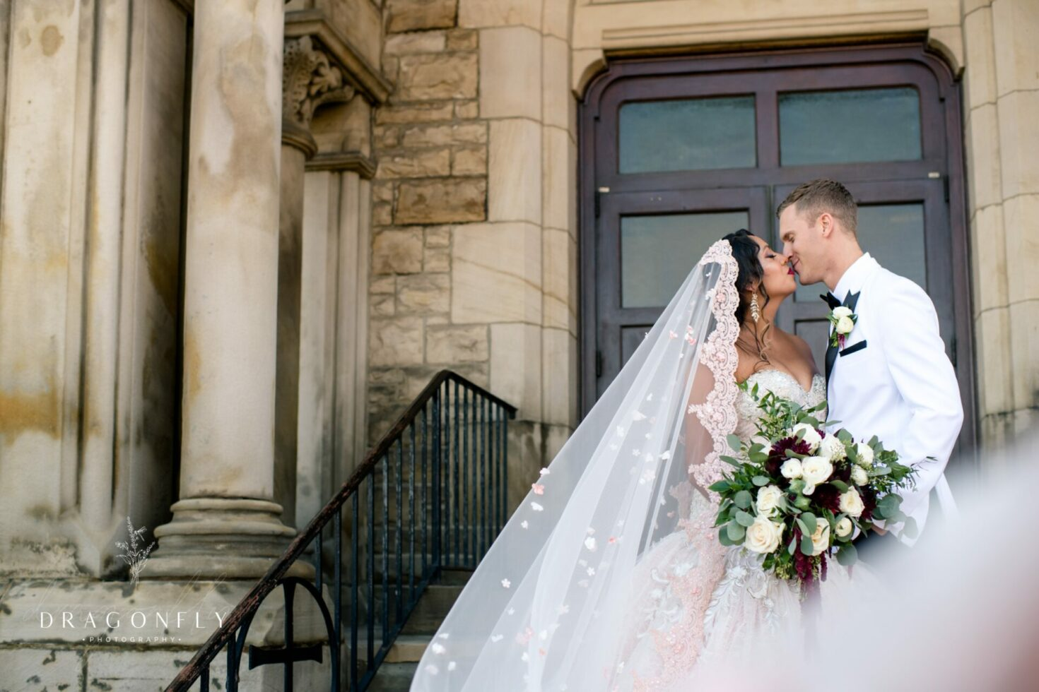 bride and groom portrait Downtown Cleveland