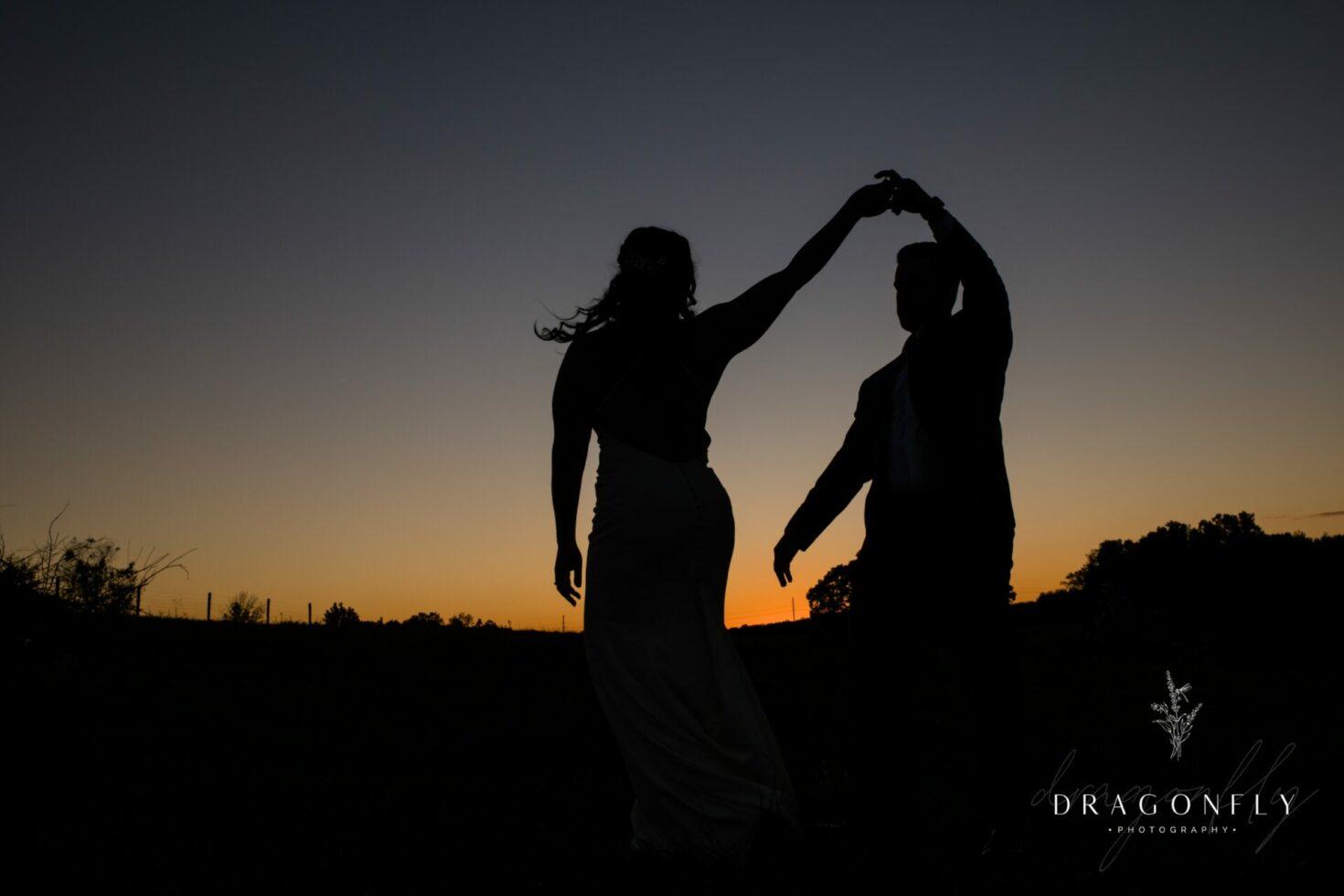 sunset at rural society wedding