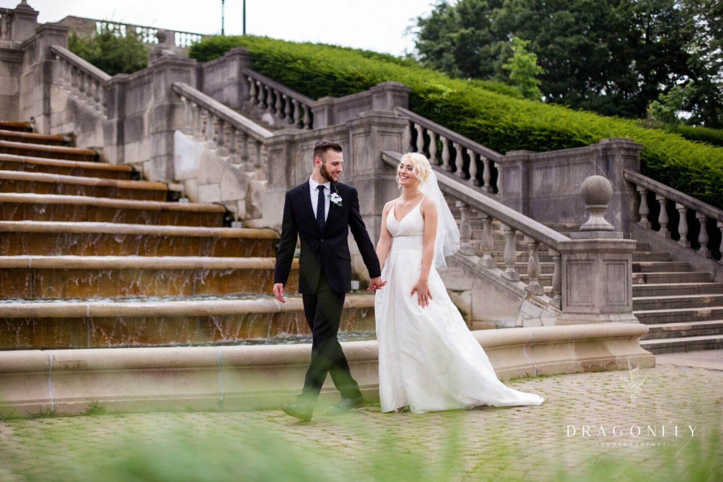Couple walking on wedding day