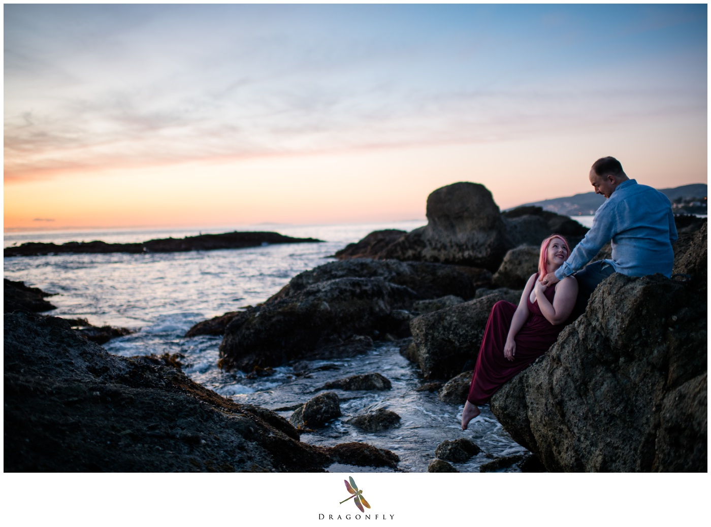 Engagement Photo on the cliffs in Laguna Beach