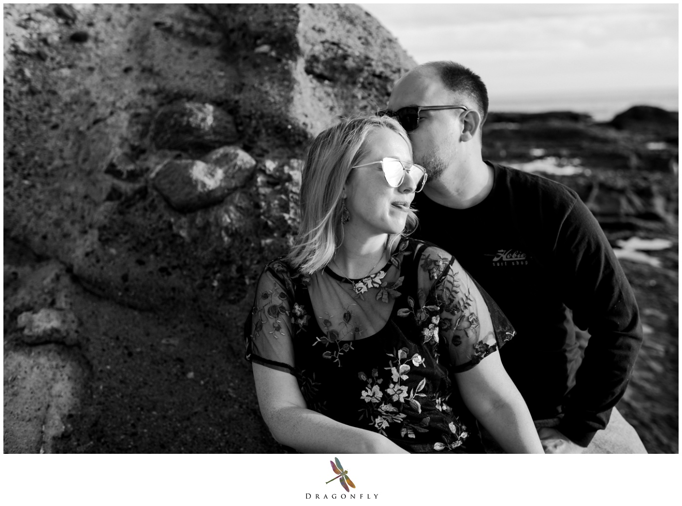 Black and White Engagement Laguna Beach Photo