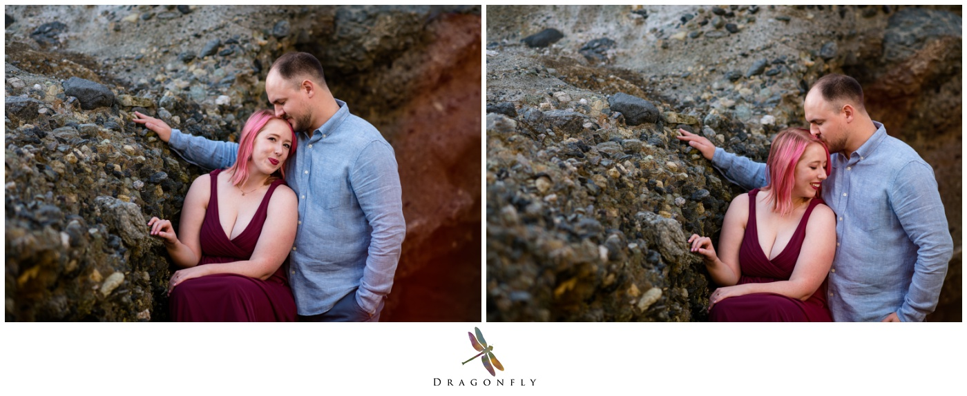 Couple in the Rocks Laguna Beach Engagement Photo