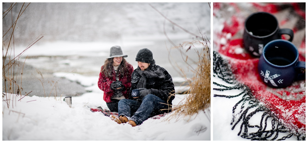 Winter Snow Storm Engagement Photo Session