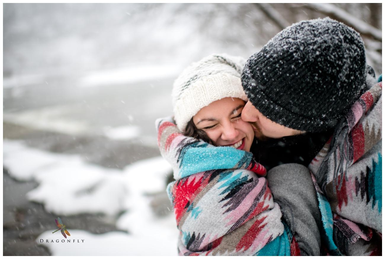 Winter Snow Storm Engagement Photo Session